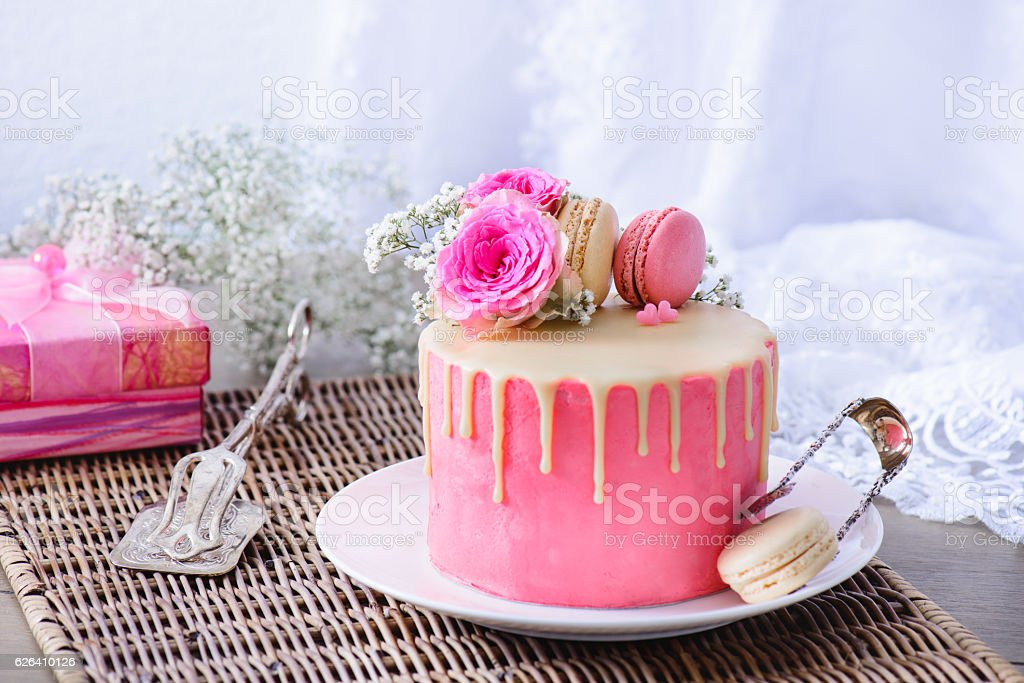 Pink cake and present stock photo