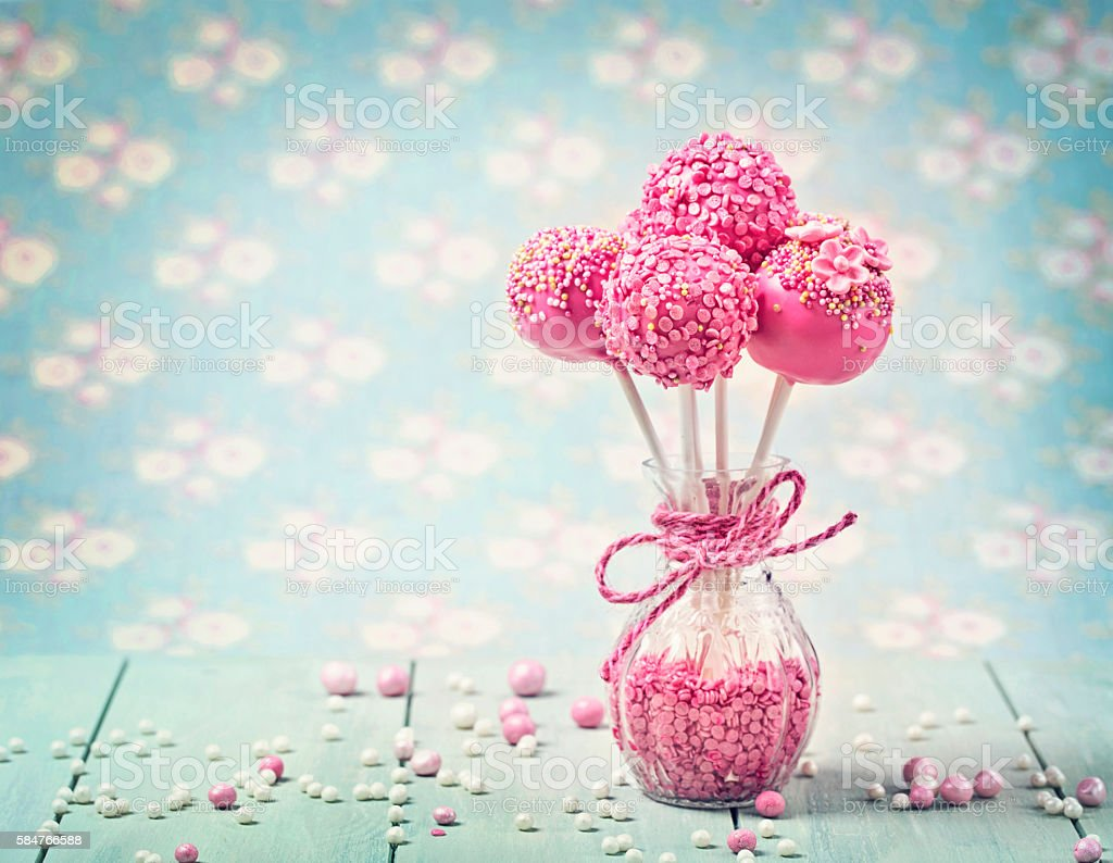Pink cake pops stock photo