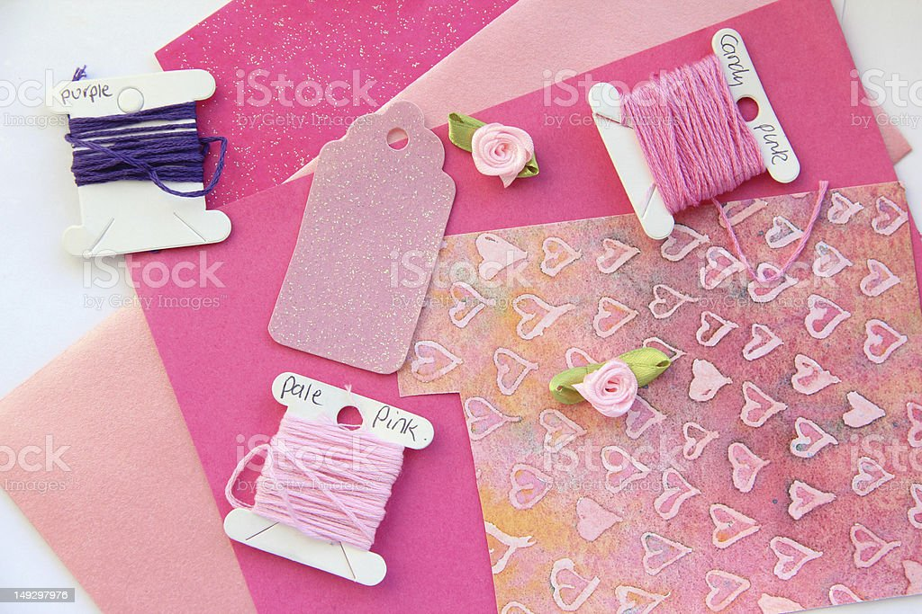 Pink Card Making Composition royalty-free stock photo