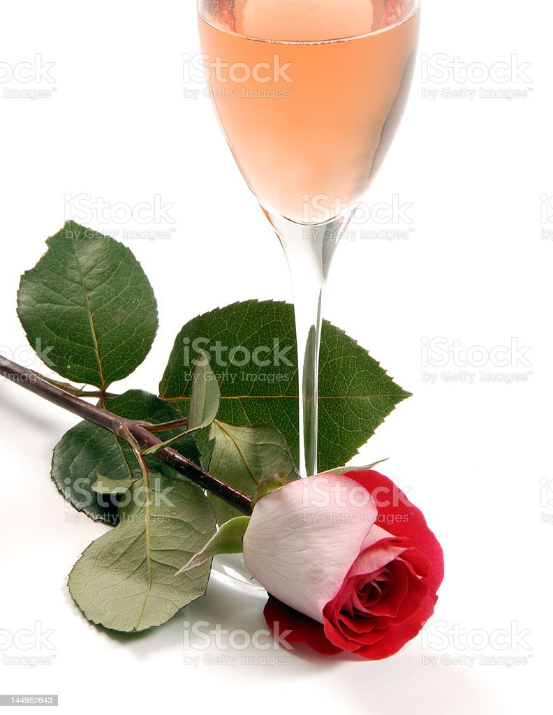 Pink Champagne and Rose royalty-free stock photo