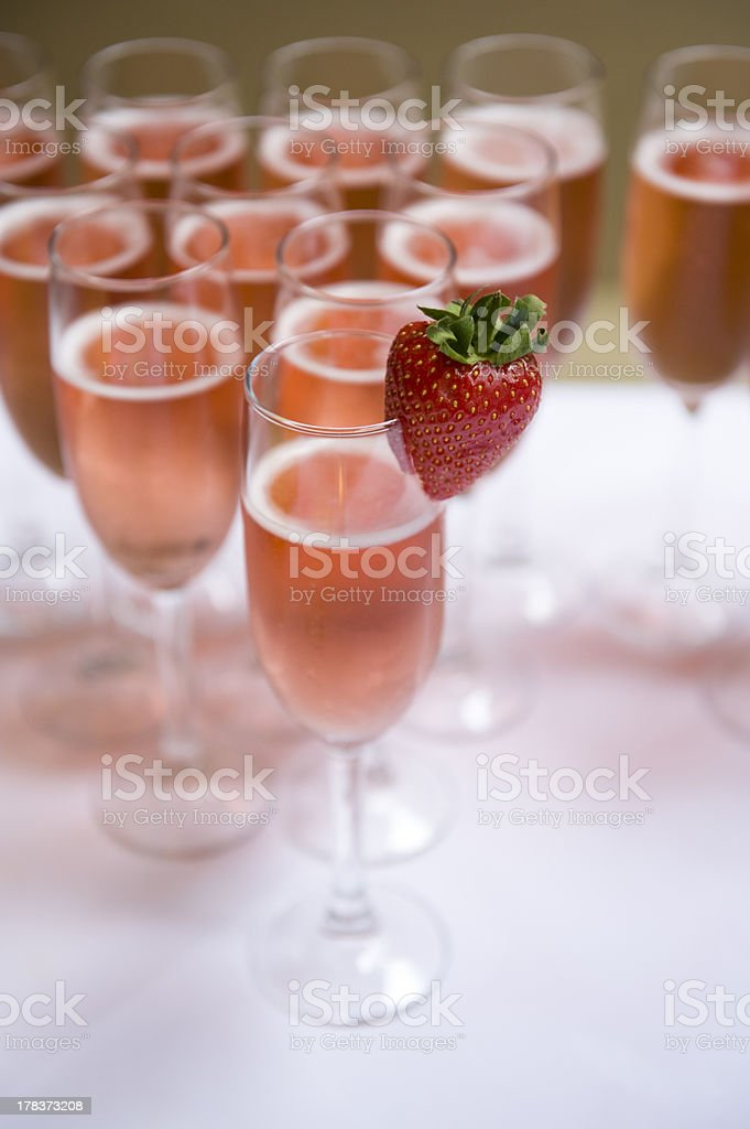 pink champagne and strawberry stock photo