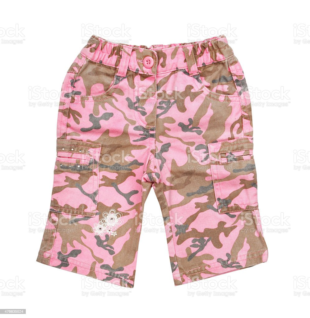 pink children's camouflage pants isolated on white background stock photo