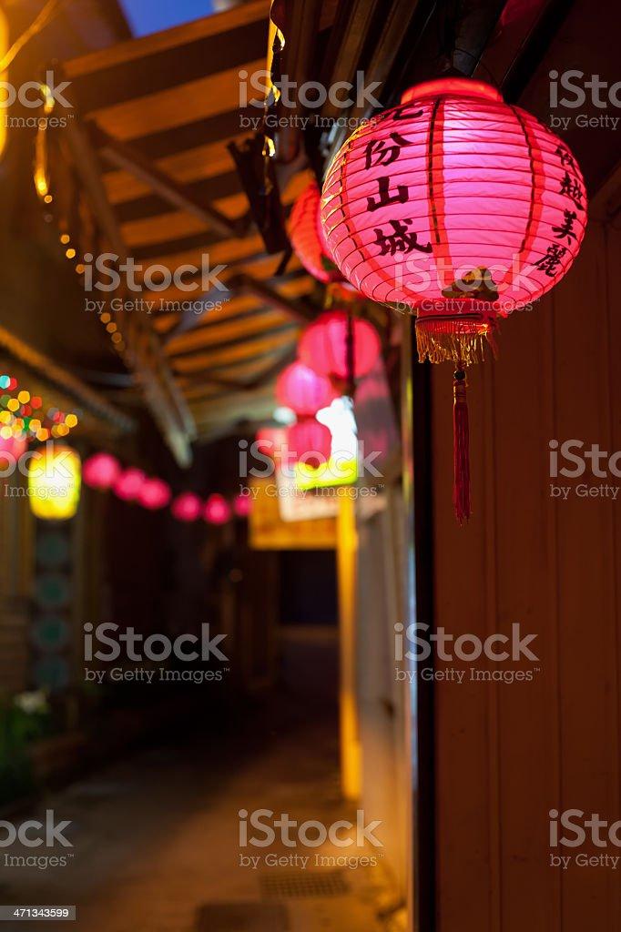 Pink Chinese lantern in old street of Jiufen, Taiwan stock photo