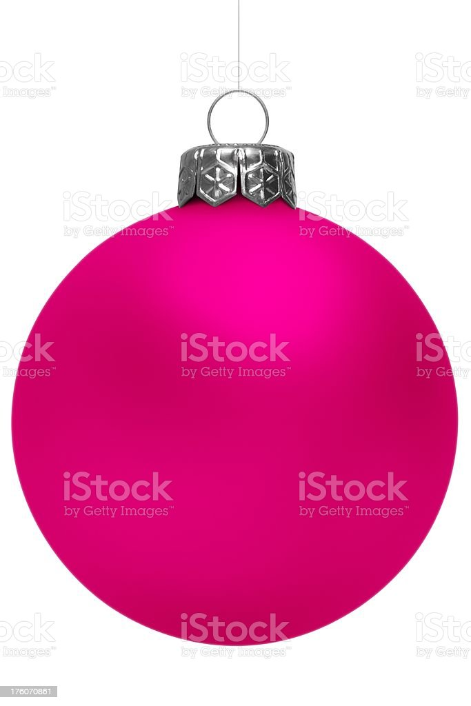Pink Christmas Ball Isolated On White royalty-free stock photo