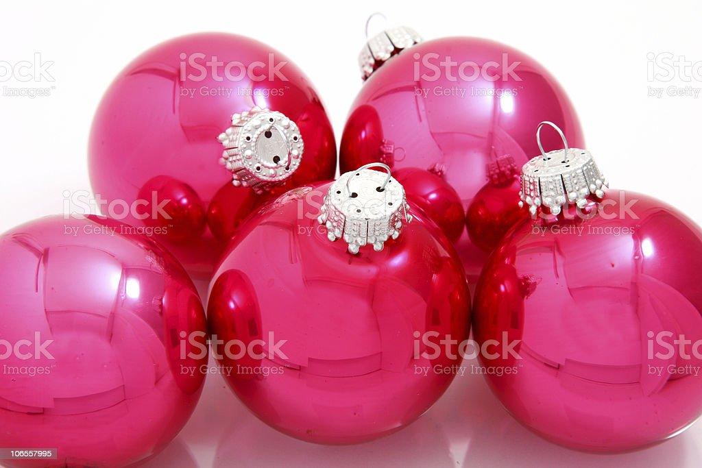 Pink Christmas Bulbs/Balls royalty-free stock photo