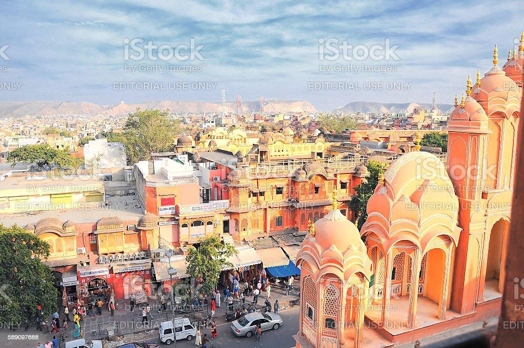 Pink City viewing from Hawa Mahal, Jaipur, Rajasthan, India. stock photo