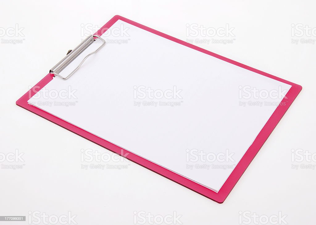 Pink Clipboard and Blank Paper stock photo