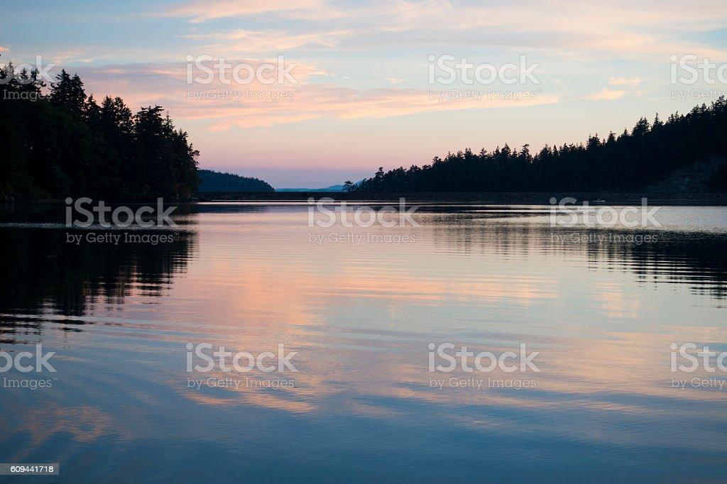 Pink Clouds Reflection Bay Near Chuckanut Drive Bellingham, Washington stock photo