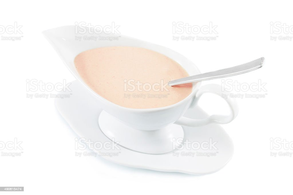 Pink cocktail sauce, isolated on white stock photo
