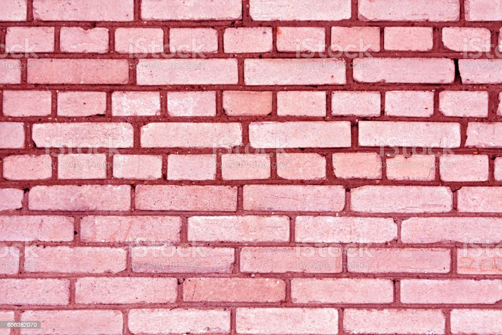 Pink color grungy brick wall pattern stock photo