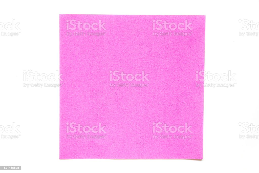 Pink color paper sheet on white background used for decoration or design element stock photo