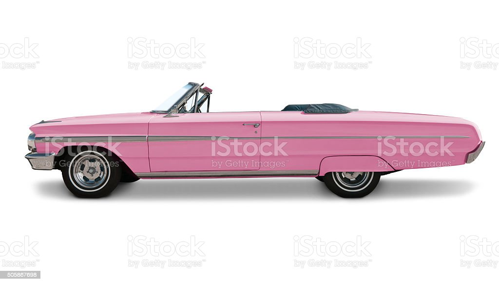 Pink Convertible Side View stock photo