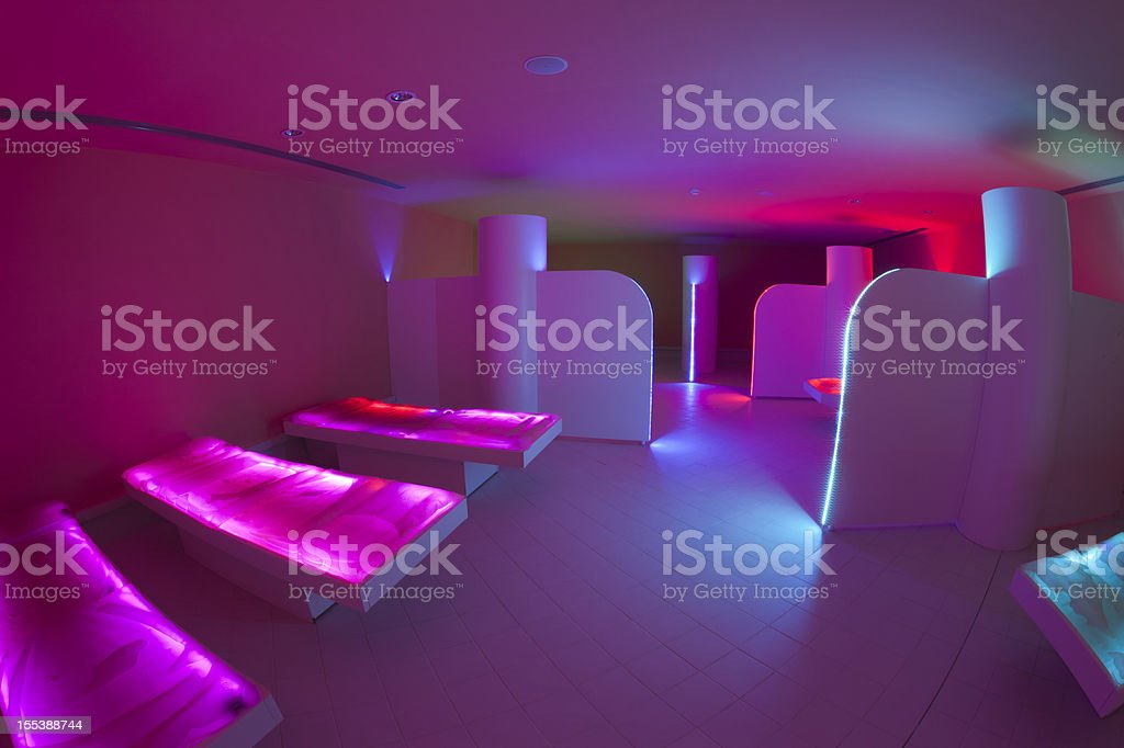 Pink corner; spa: chromotherapy and relax stock photo