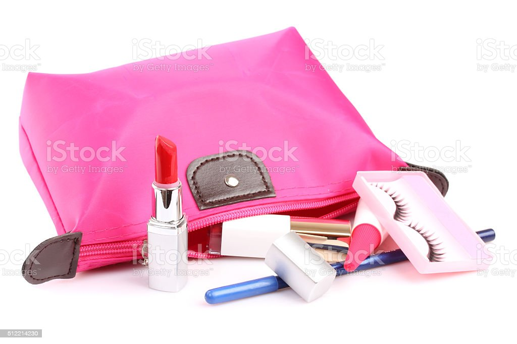 Pink cosmetic bag stock photo