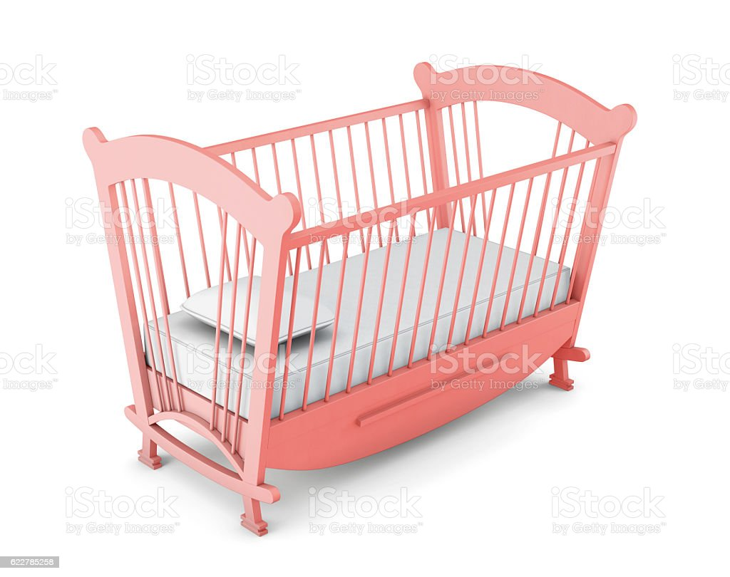Pink cot bed isolated on white background. 3d rendering stock photo