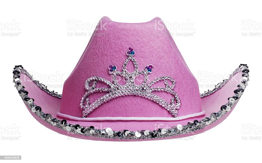 Pink Cowboy Hat on White stock photo