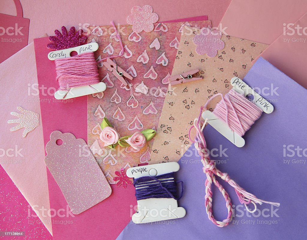 Pink Craft Card Making Composition royalty-free stock photo