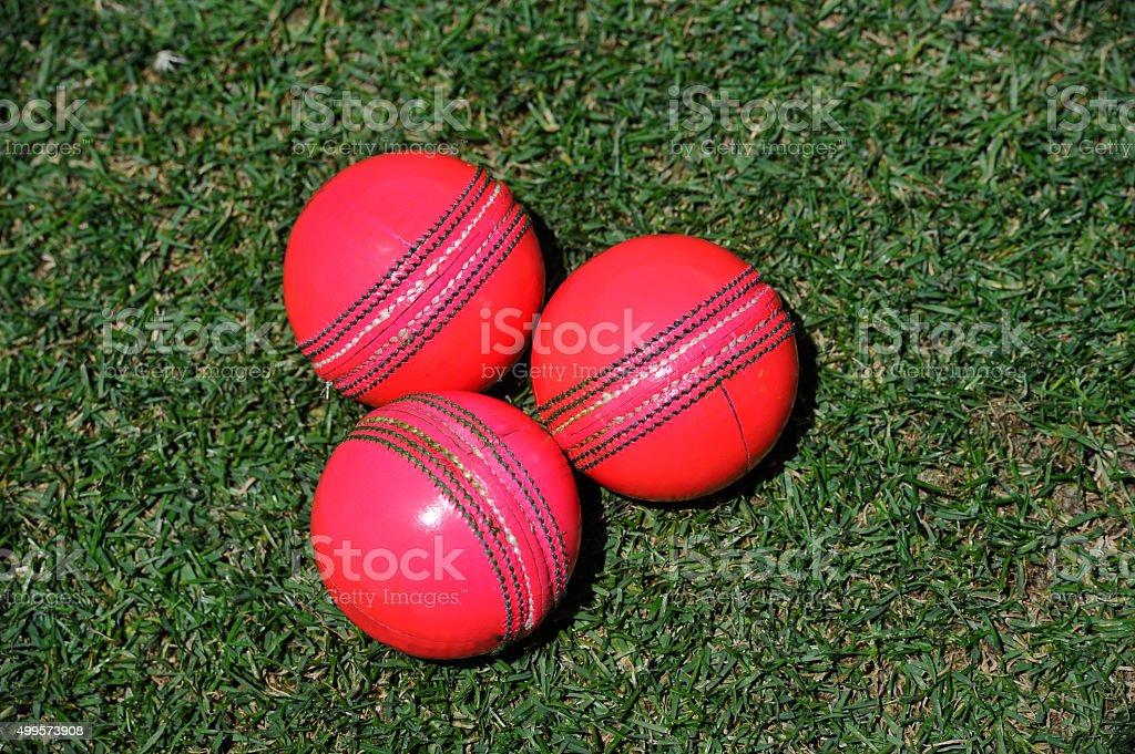 Pink cricket balls stock photo
