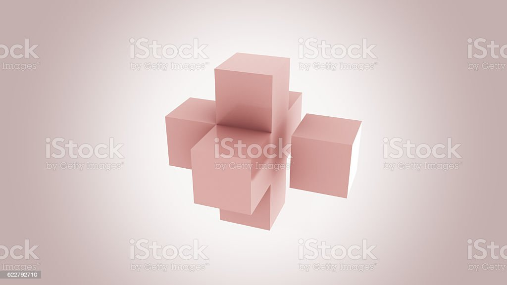 Pink cubes assembling. Addition, growth and expansion concepts. 3D rendering stock photo