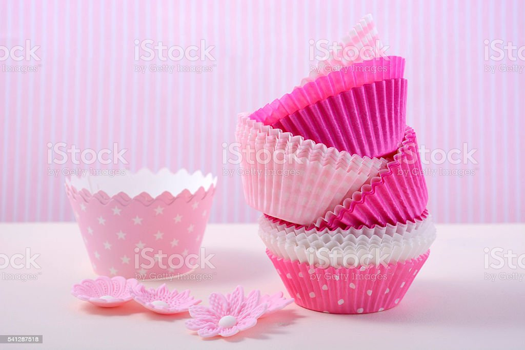 Pink cupcake paper cups stock photo
