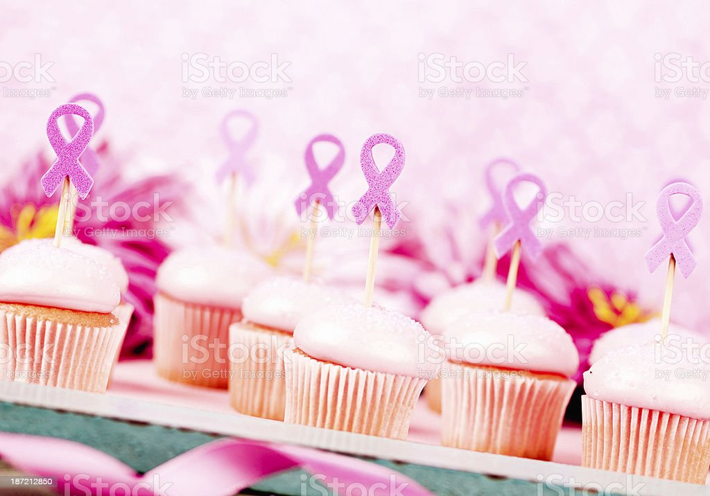 Pink Cupcakes For Breast Cancer Awareness Fundraiser stock photo