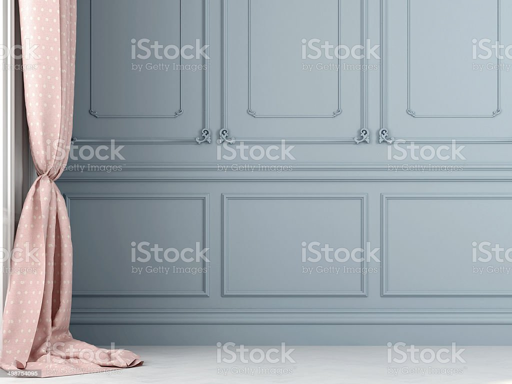 Pink curtains against the background of blue wall stock photo