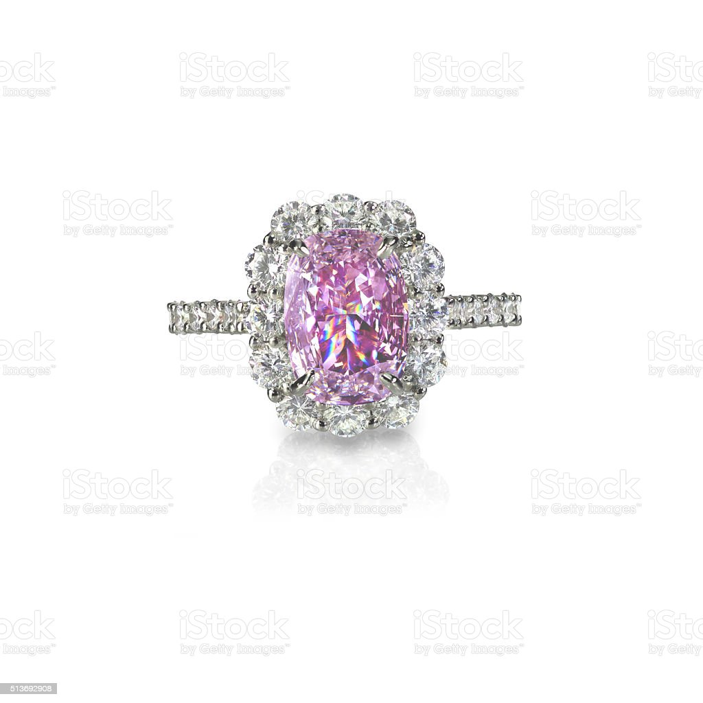 Pink diamond halo set cushion cut engagement wedding ring stock photo