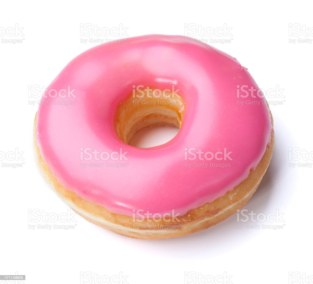 Pink Donut + Clipping Path stock photo