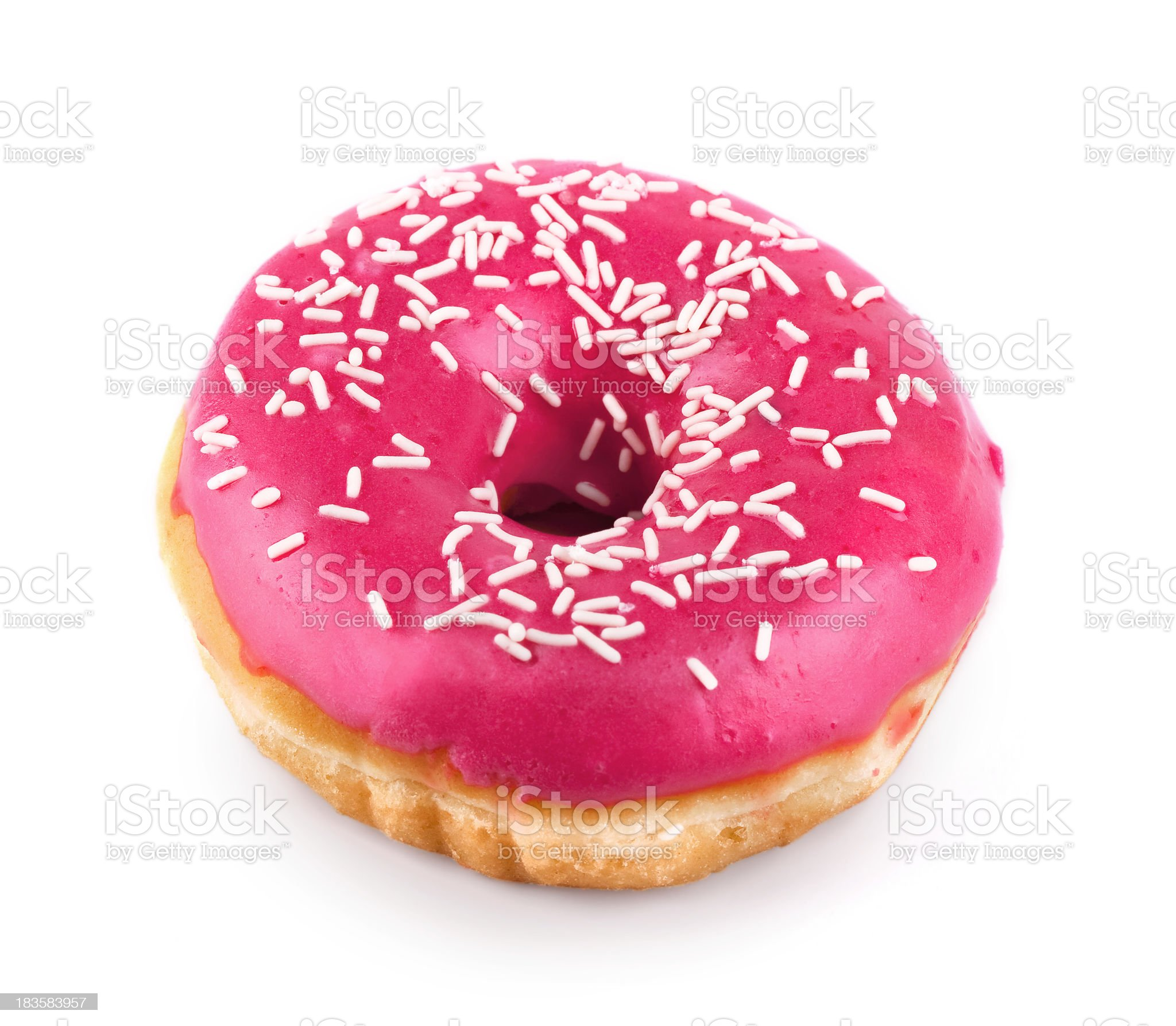 Pink Donut isolated with Clipping Path royalty-free stock photo