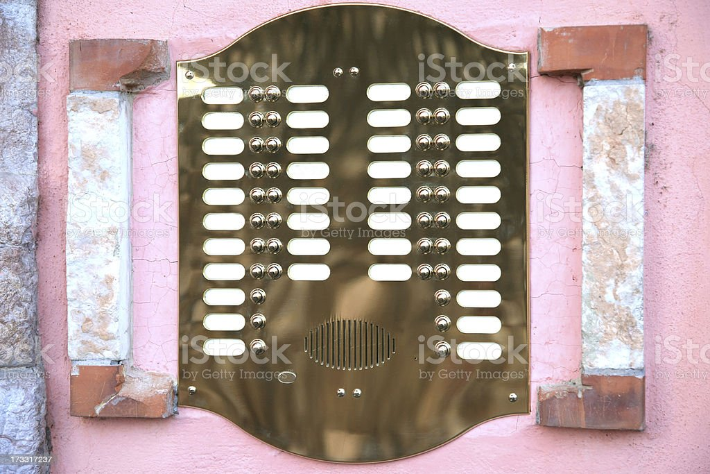 Pink doorbell with blank name tags royalty-free stock photo