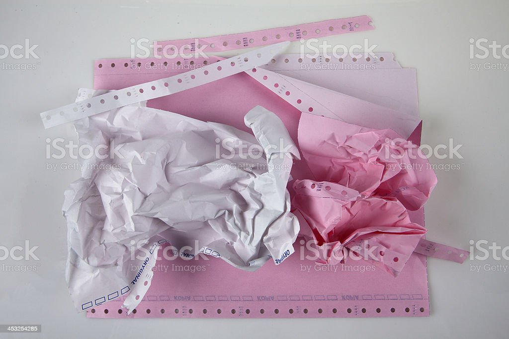 Pink Dot Matrix Printer Paper stock photo