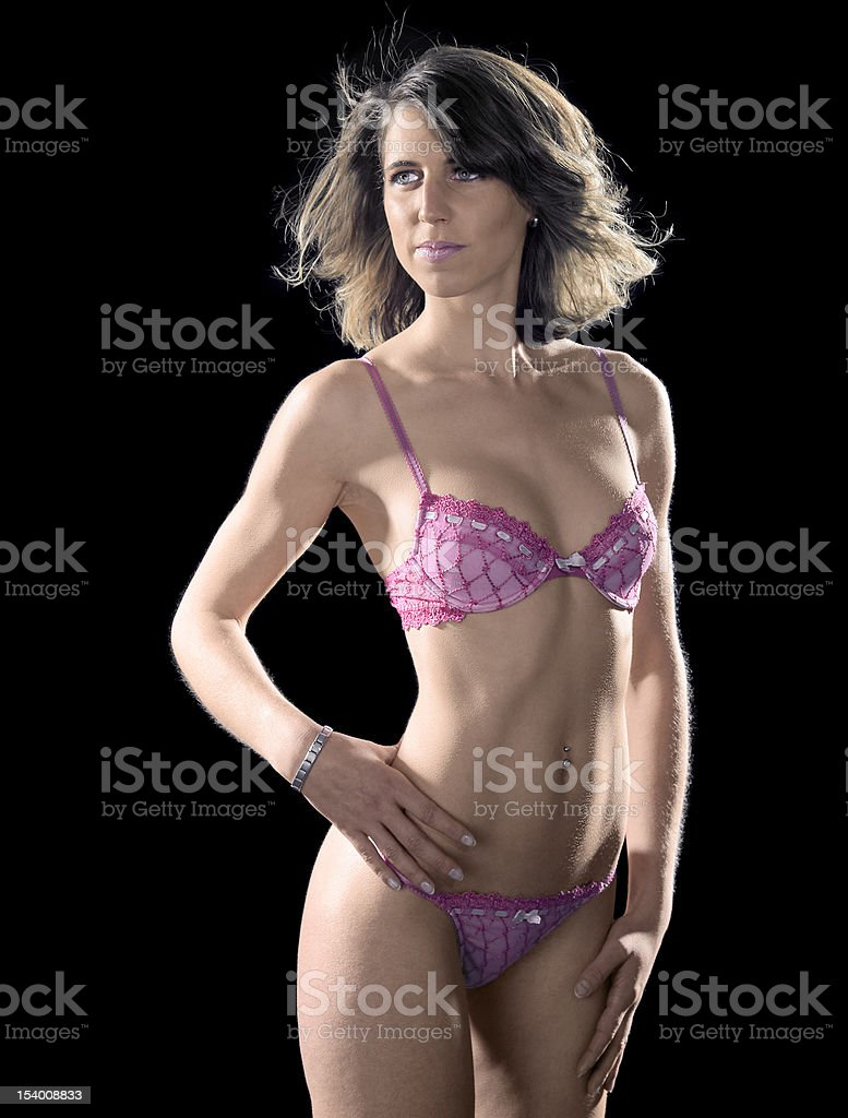 pink dressed lingerie lady stock photo