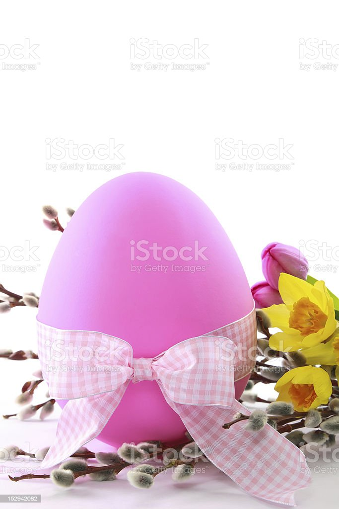Pink Easter Egg with Spring Flowers royalty-free stock photo