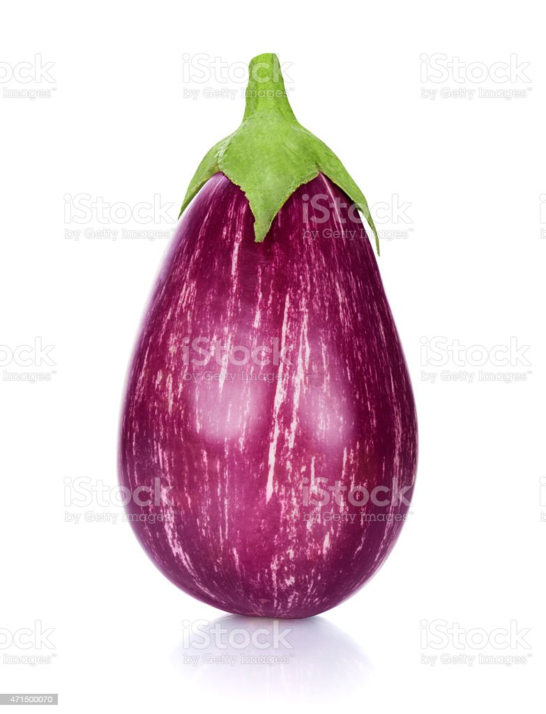 pink eggplant isolated on white background stock photo