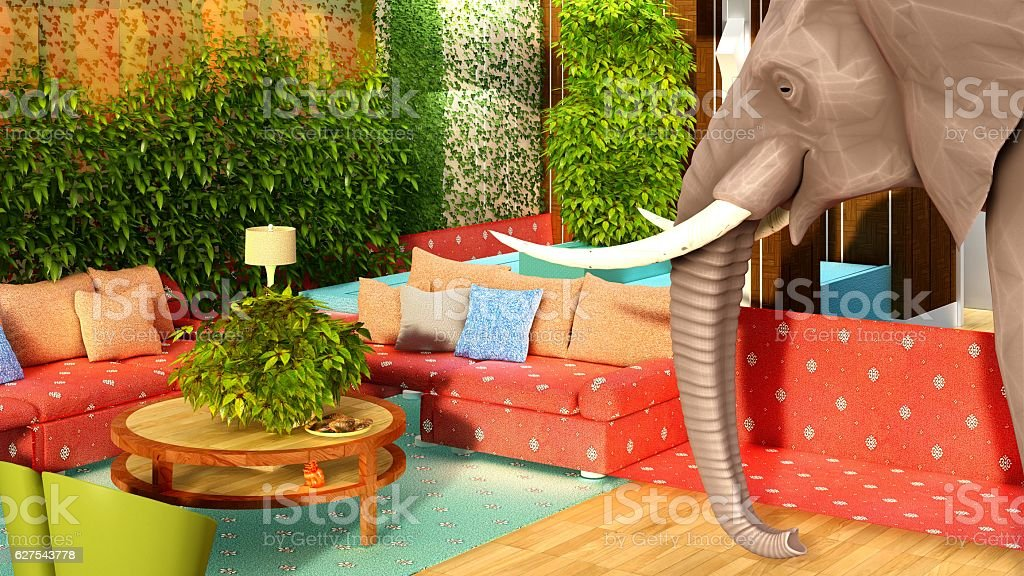 Pink elephant in the living room 3d rendering stock photo