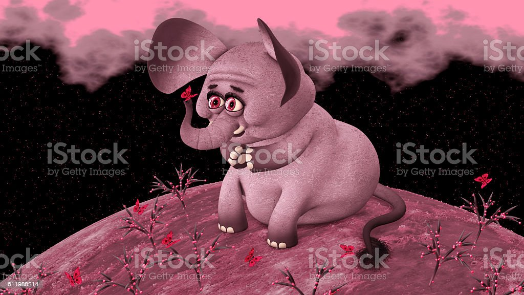 Pink Elephant Looks at Butterfly stock photo