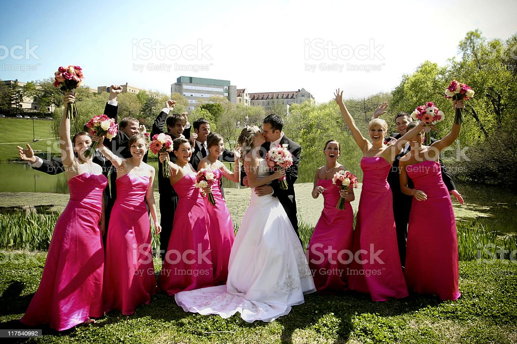 Pink Excited Wedding Party Portraits royalty-free stock photo