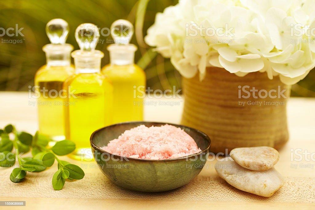 Pink exfoliation salt scrub at spa royalty-free stock photo