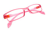 Pink Eye Glasses Isolated on White background