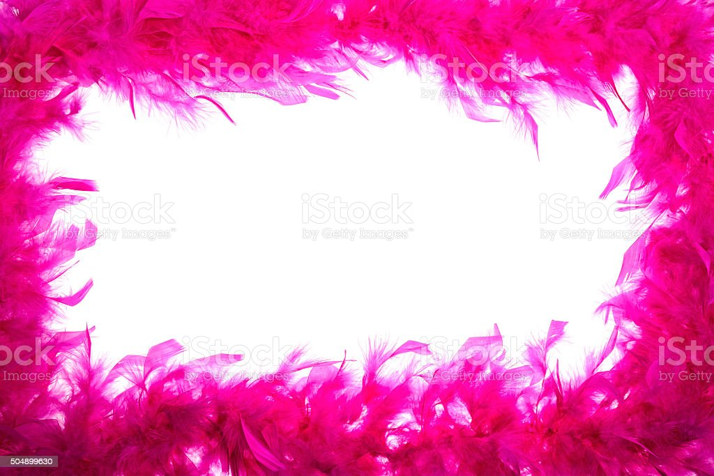 Pink feather boa frame on white background stock photo