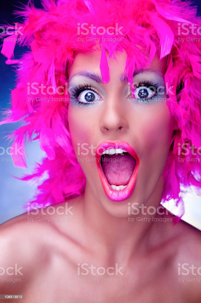 Pink feather girl stock photo