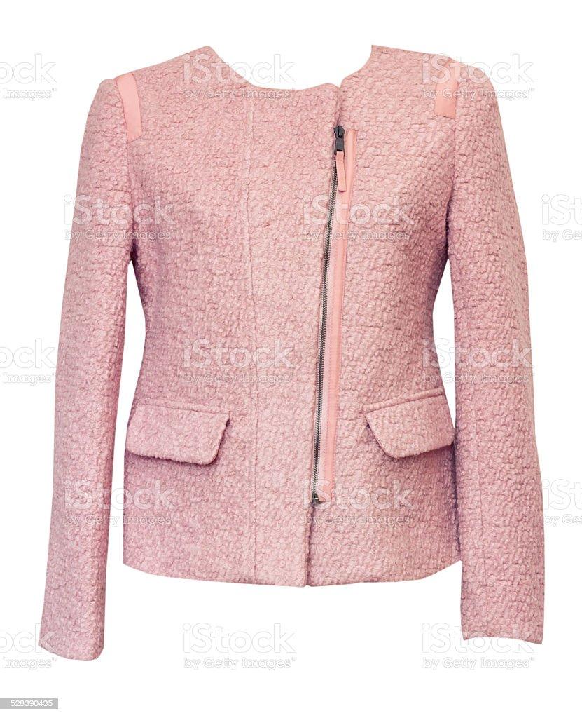 Pink female jacket isolated on white. stock photo