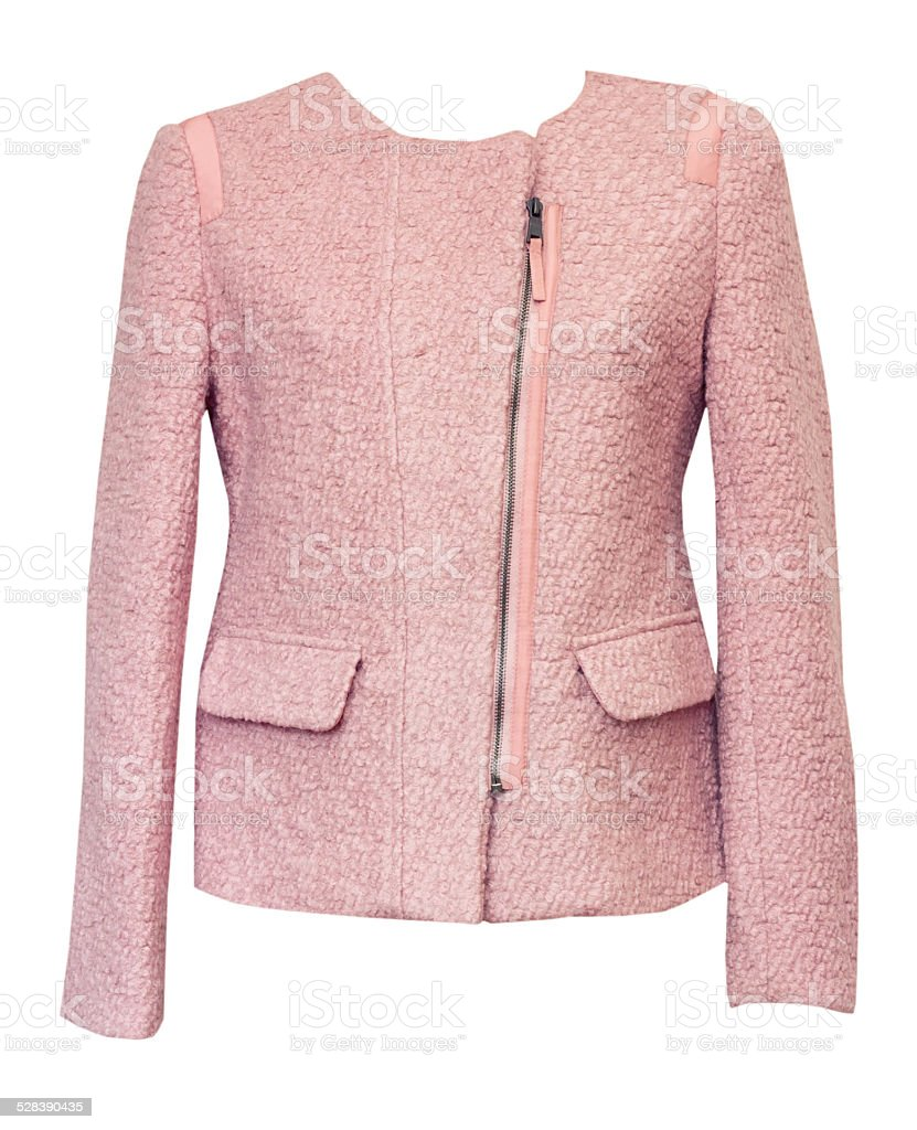Pink female jacket isolated on white. stock photo