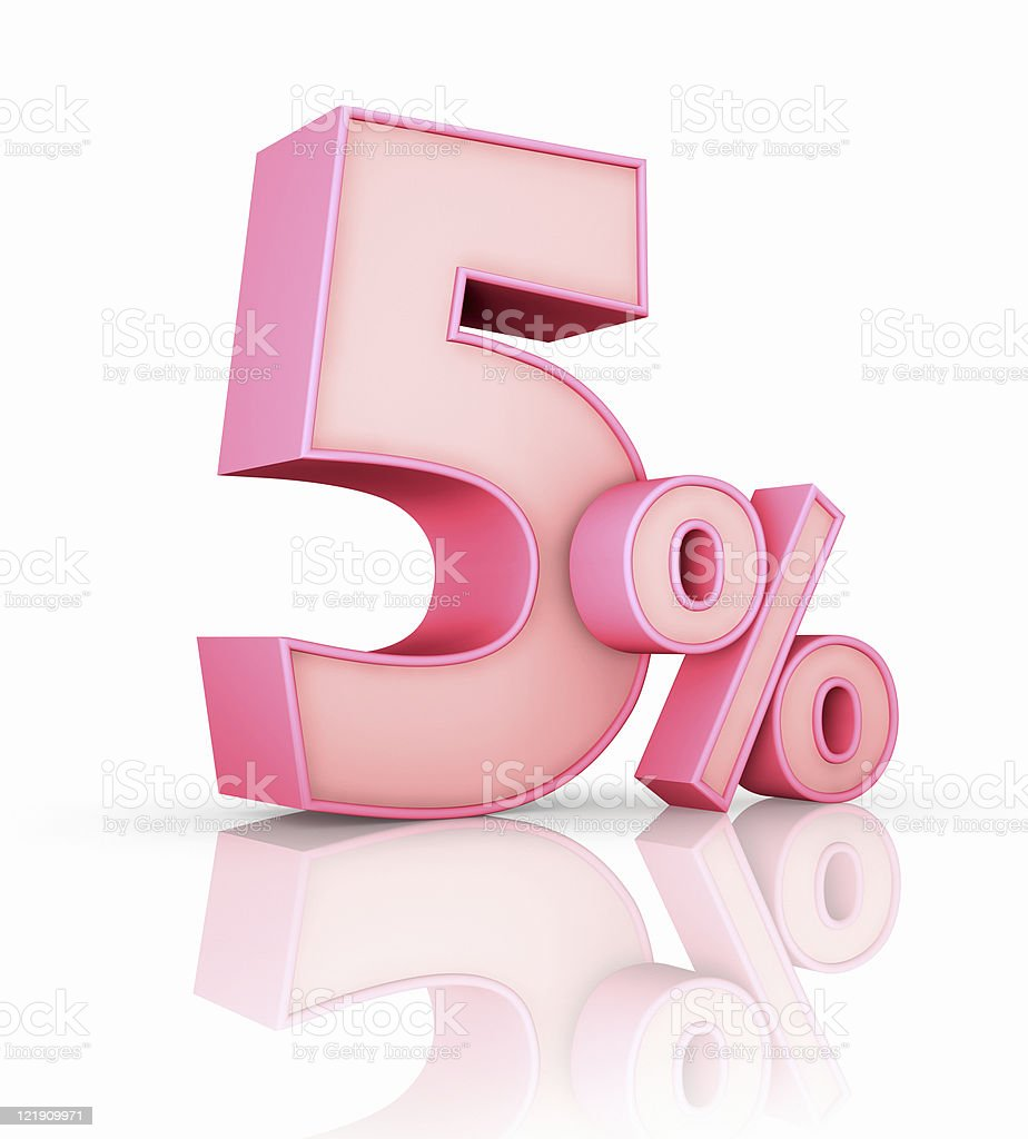 Pink Five Percent royalty-free stock photo