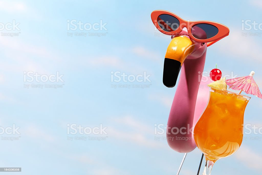 Pink Flamingo & Tropical Drink stock photo