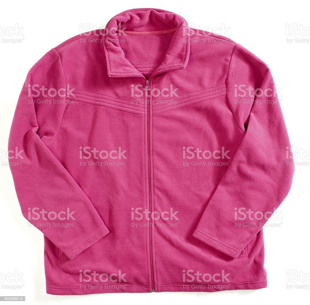 Pink fleece jacket stock photo