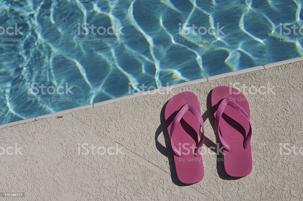 Pink Flip Flips at the Pool royalty-free stock photo