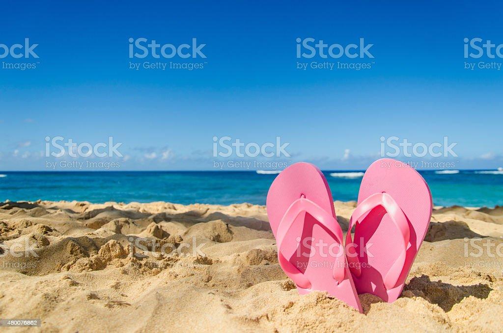 Pink flip flops on the sandy beach stock photo