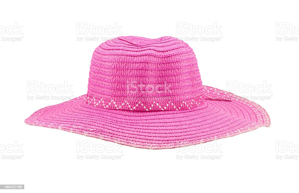 Pink floppy hat isolated on white background stock photo