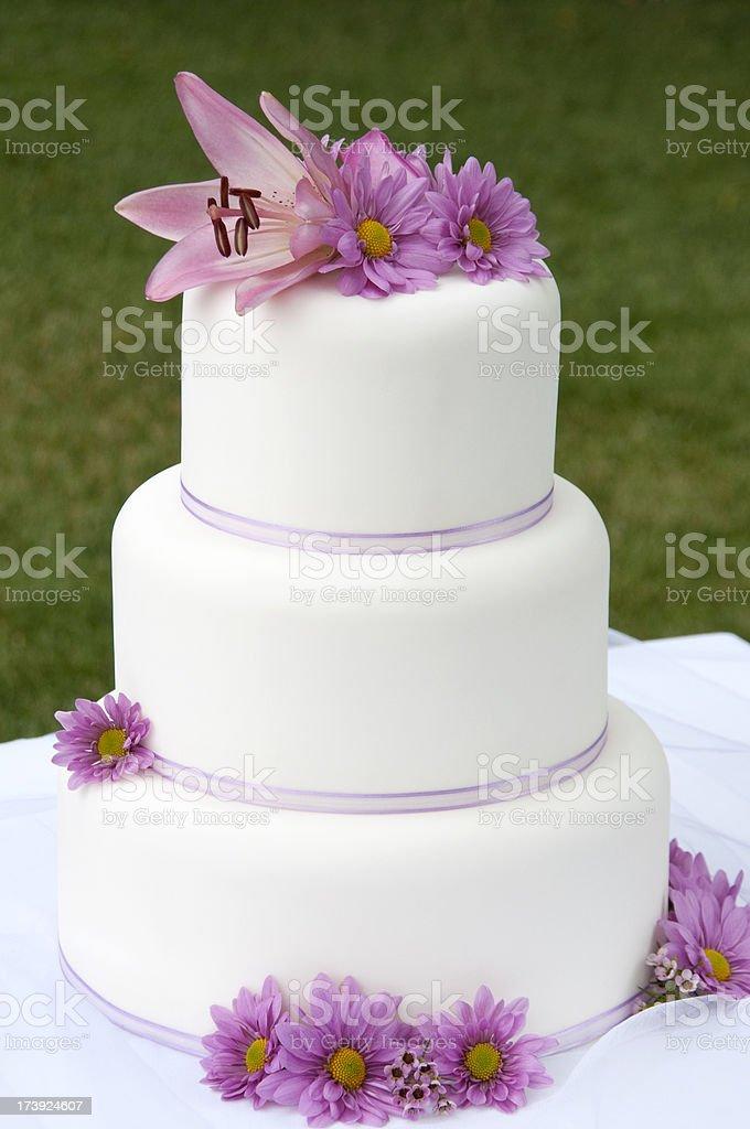 Pink Floral Wedding Cake stock photo